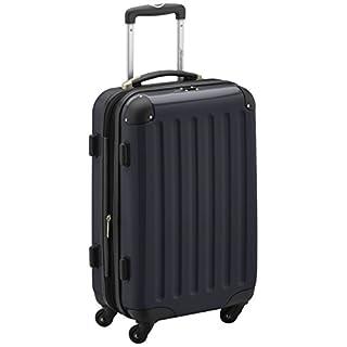 HAUPTSTADTKOFFER - Alex - Handgepäck Hartschalen-Koffer Trolley Rollkoffer Reisekoffer Erweiterbar, 4 Rollen, 55 cm, 42 Liter, Schwarz