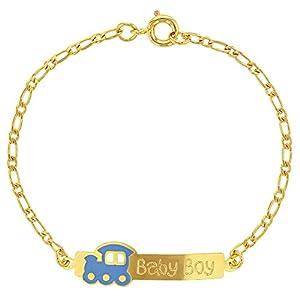 18K Gold Vergoldet Blau Emaille Zug Zuordnung ID Armbänder für Kinder