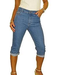 36-46 Damen Capri Hose 3//4 Stretch Jeans Shorts Bermuda kurze Sommerhose NEU Gr