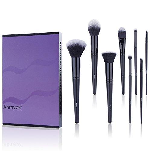 Anmyox Kabuki synthétique Premium 8pcs, pinceaux cosmétiques pour poudre, fond de teint anti-cernes, ombrage de nez, fard à paupières, sourcils, lèvre de pinceau de maquillage, noir