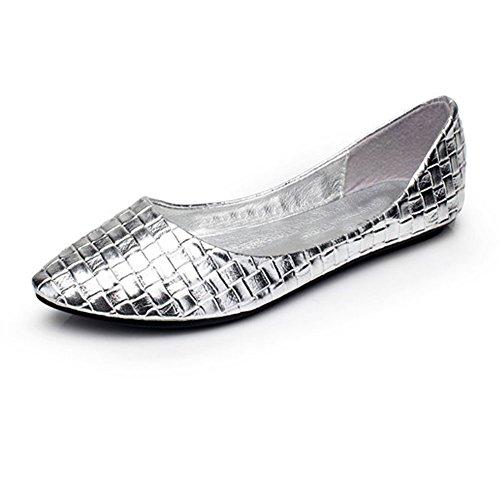 fereshte ,  Damen Durchgängies Plateau Sandalen mit Keilabsatz 04F-Silver