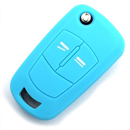 Schlüssel Hülle OB für 2 Tasten Auto Schlüssel Silikon Cover - Finest Folia (Hellblau)