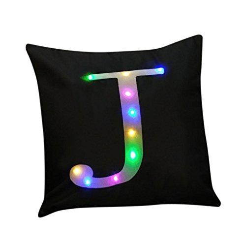 HUHU833 Weihnachten Bunt LED-Kissen Home Decor Kissenbezug Baumwoll Leinen Kissenbezug Streifen Pillowslip für Sofa 45cm *45cm (J) (Hand Von Baumwoll-leinen Bemalt,)