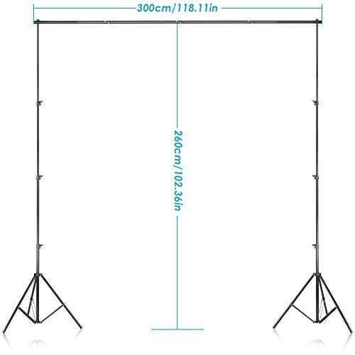 Neewer® Support de Fond 2,6m x 3m/8.5ft x 10m en kit avec étui de Transport pour Toiles de Fond, Papier et Toile