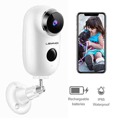 Lemnoi 1080P Caméra de Surveillance Batterie Rechargeable, Caméra IP WiFi extérieure/intérieure sans...