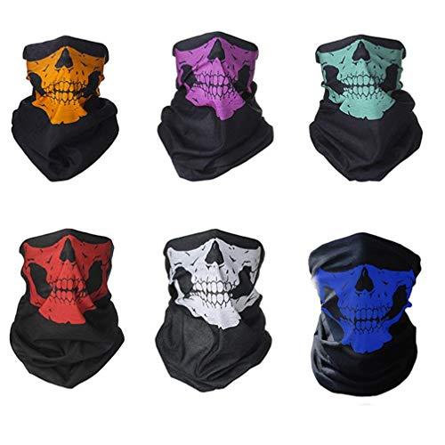 Basketball Kostüm Maske - 6 Stück Totenkopf Multifunktionstuch Skull Motiv Für Motorrad Fahrrad Ski Paintball Gamer Karneval Kostüm Skull Maske