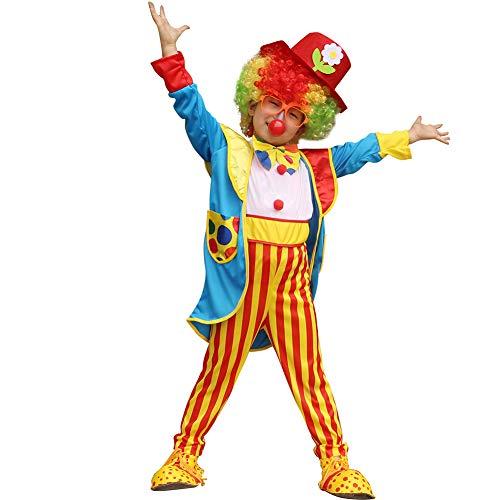 Yaxuan Burlesque Clown/Kinder-Cosplay-Kostüm/Party-Kostüm Junge Es/Mädchen Karneval-Festival/Urlaub Halloween-Kostüme Regenbogen Farbe Block Party/Set,Picturecolor,XXL