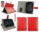 Emartbuy® AlpenTab 7 Zoll Tablet PC Universalbereich Rot Multi Winkel Folio Executive Case Cover Wallet Hülle Schutzhülle mit Kartensteckplätze + Rot 2 in 1 Eingabestift