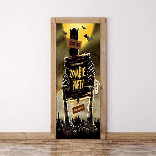 3D Tür Aufkleber Wandaufkleber Wandbild Fotos Bad Schlafzimmer Bürozimmer Kreative Selbstklebende Dekoration 77X200 Cm (Grabstein Halloween)