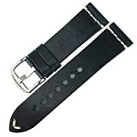 DITOU Watch Band 20mm 22mm 24mm, Vintage Oil Wax Leather (Greasedleather) Watch Strap 6 Colors Available Watchband Band Width: 20mm Blue+Silver Buckle