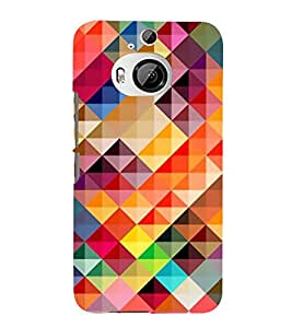 FUSON Abstract Background Colorful Triangle 3D Hard Polycarbonate Designer Back Case Cover for HTC One M9 Plus :: HTC One M9+ :: HTC One M9+ Supreme Camera