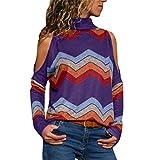 ESAILQ Frauen kalte Schulter Bluse geometrischen Blumendruck Jumper Damen Top(Large,Lila)