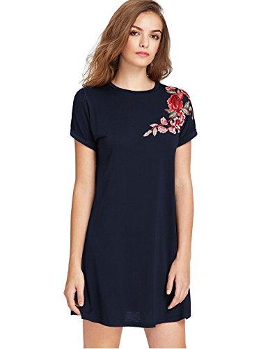 ROMWE Damen Rose Blumenstickerein Tunika Kleid Weit Geschnitten Glockenhülse Sommerkleid Marineblau