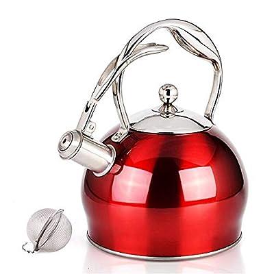 Suteas Meilleur sifflante Thé bouilloire Teakettle Stove Top Théière en acier inoxydable 3L Couleur Rouge