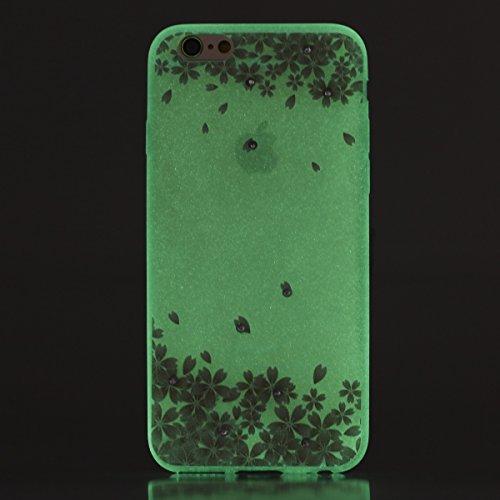 Coque Housse Etui pour iPhone 6 Plus/6S Plus, iPhone 6S Plus Coque en Silcone avec Bling Diamant, iPhone 6 Plus Coque Noctilucent Souple Slim Etui Housse, iPhone 6 Plus/6S Plus Silicone Case Soft Gel  cerise pétales de fleurs