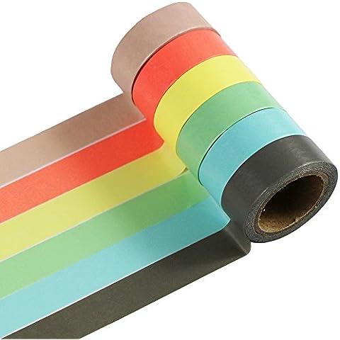 EDGEAM Washi Tape 6 piezas, cinta adhesiva banda decorativa Masking Tape (A-3-6)