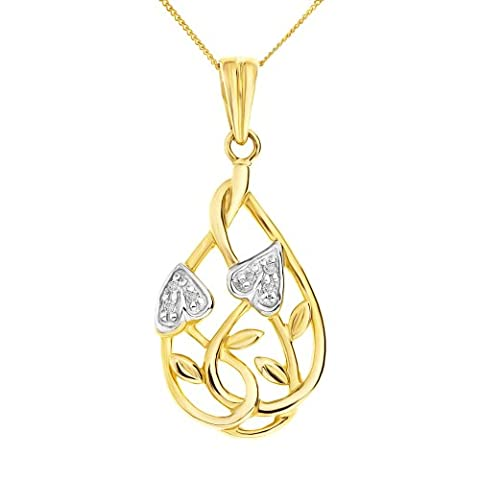 Ornami Glamour Diamond Accent Leaf and Interlacing Stem design Pendant 9 ct Yellow Gold Chain of 46 cm
