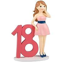 Mopec Figura para Pastel Chica con Vestido, Poliresina, Rosa, 4x18x25 cm