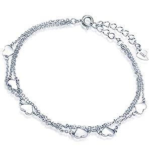Yumilok 925 Sterling Silber Herzen Charm-Armband Armkette 3 Kettchen Armschmuck für Damen Mädchen, 6.3-7.7″ Verstellbar, Silber/Silber vergoldet
