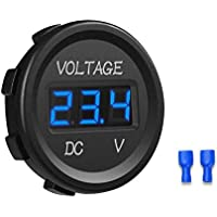 YGL 12-24V Impermeable DC Voltímetro Pantalla Digital Led para Coche Motocicleta Camión Barco (Azul)