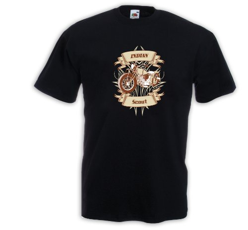 Biker T-Shirt Indian Scout Motorcycle Bike Racing USA Custom Gr.L (Indian Scout Motorrad)