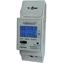 Velleman EMDIN02 - Medidor de kwh para uso profesional, doble módulo, montaje en riel DIN