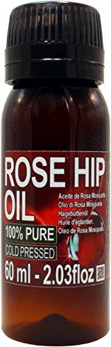 Aceite Rosa Mosqueta 100% Puro 60ml Origen Patagonia - Envasado en UE, primera prensada en frío, extra virgen -Color naranja brillante-. Primera calidad de exportación. Envío super rápido desde España.