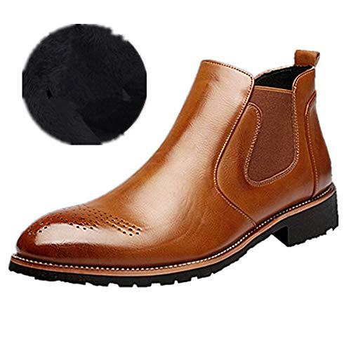 Stiefel Herren Chelsea Boots Leder Retro Business Stiefelette Klassische Brogues Elegant Schuhe Herbst Gefüttert Winter Braun 39