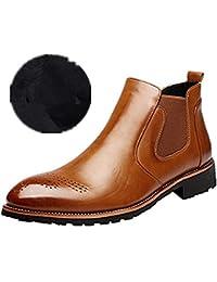 1c8133bf4670c Hombre Botas Chelsea de Cuero Elegantes Calzado Oxfords Zapatos Forro Piel  Sneakers Invierno Otoño Zapatos Negro