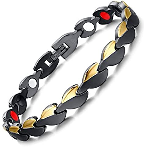 Vnox 8.5 millimetri delle donne degli uomini in acciaio inox 4 in 1 Link Wristband terapia magnetica braccialetto sano,Black Gold,21cm centimetri