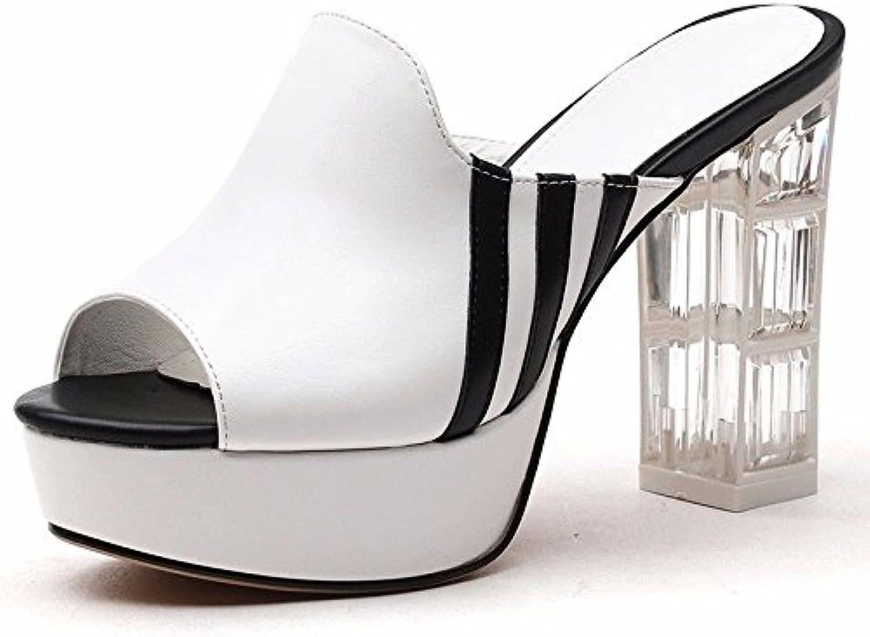 GTVERNH Zapatillas de Verano para Mujer, Doble Uso, Negro, Thirty-Nine