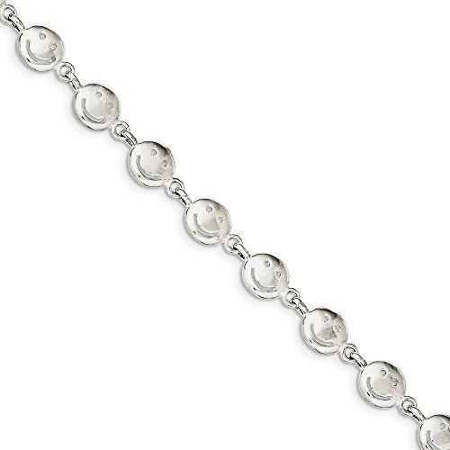 Diamond2deal Armband mit Smiley-Gesichtern, 925 Sterlingsilber, 17,8 cm