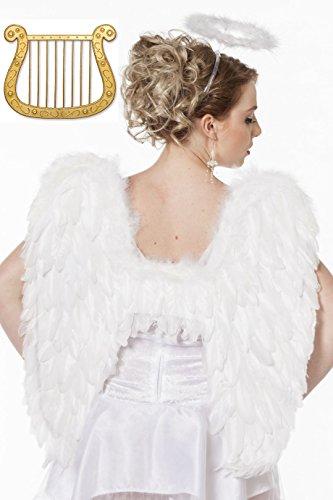 Set 3 teilig - Engelsflügel ca. 50cm x 50cm - Heiligenschein aus Marabou - Harfe - Engel Harfe Kostüm