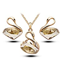 Classic Swan Pendant Gold Crystal Necklace & Earrings Set - Swarovski Elements Jewelry Set