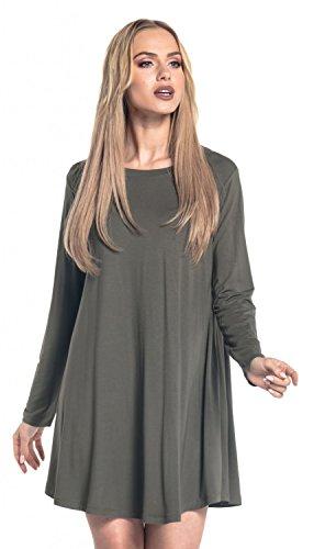 Glamour Empire. Damen Ausgestelltem Kleid Rundhalsausschnitt Langen Ärmeln. 603 Khaki
