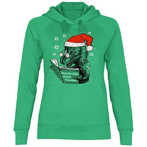 wowshirt Damen Hoodie Atheist Weihnachten Ugly Christmas Dino, Größe:S, Farbe:Kelly Green