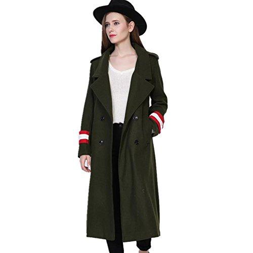 XYLUCKY Frauen militärischen grünen Trenchcoat Mantel Wollmantel m Double Breasted Vintage Trenchcoat