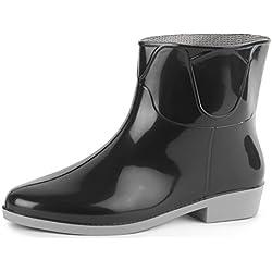 Ladeheid Botines Botas de Agua Zapatos Mujer LAZT201801 (Negro/Gris, 40 EU)
