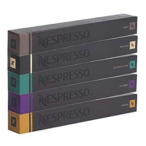 NESPRESSO Capsule Originali Caffe Assortimento, 50 Capsule - 10x Roma 10x Ristretto 10x Fortissio 10x Arpeggio 10x Volluto - compatibili originali