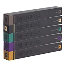 Nespresso, Kaffee-Sortiment mit 50 kompatiblen Originalkapseln: 10 x Roma, 10 x Ristretto, 10 x Fortissio, 10 x Arpeggio, 10 x Volluto