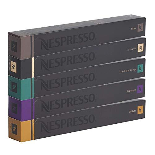 Nespresso Cápsulas originales Caffe Surtido, 50Cápsulas–10x Roma 10x Ristretto 10x...
