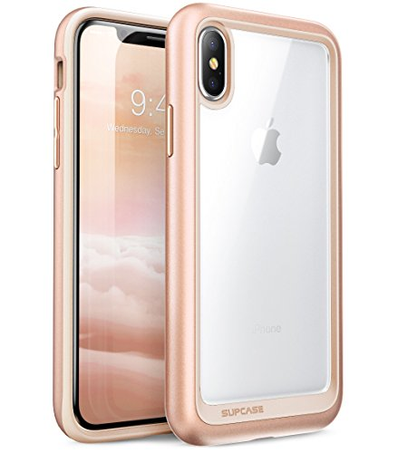Supcase iPhone X / iPhone XS Hülle Unicorn Beetle Style Handyhülle Transparent Backcover, Blush Gold