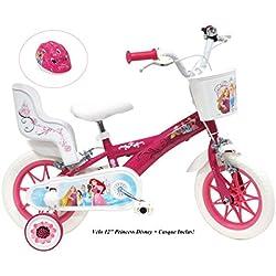 """Vélo 12"""" fille Princess 2 freins avec porte-poupée arrière + casque inclus !"""