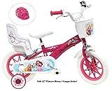 Vélo 12' fille Princess 2 freins avec porte-poupée arrière + casque inclus !