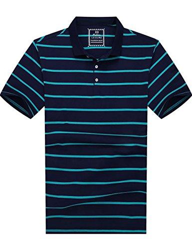 Poloshirt Herren Streifen Kurzarm Baumwolle Glestore Weiss Blau Schwarz Rosa 2XL-5XL Blau
