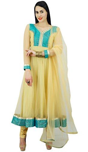 Atasi Frauen Beige Anarkali Kurta Kurti Salwaar Kameez Mit Dupatta Stola indischen Kleid Ethnische Partei zu tragen Anzug - Größen erhältlich