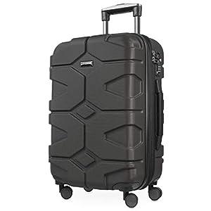 HAUPTSTADTKOFFER - X-Kölln - Valigia bagaglio a mano 55 cm, Trolley espandibile rigido, legero, ABS, TSA, 43-50 litri, Grafite