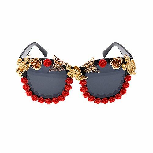 Yiph-Sunglass Sonnenbrillen Mode Damen Sonnenbrille Vintage Blume Barock Rote Rose Schmetterling und Engel Dekoration Katzenaugen Sonnenbrille Dame Persönlichkeit Strand Zeigen Stil Sonnenbrille
