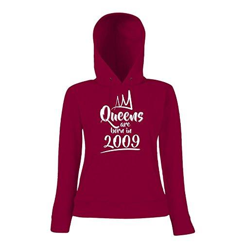 Queens are born in 2009 Hoody   Geburtstags-Hoody   Jahrgang   8. Geburtstag   Frauen   Kapuzenpullover Dunkelrot