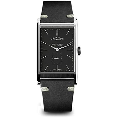 Armand Nicolet Men's L11 Black Leather Band Mechanical Watch 9680A-NR-PK4140NR